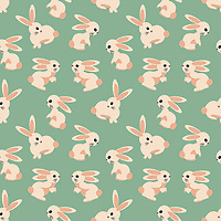 """Meadow Rabbits"" is a hand illustrated scalable vector surface pattern collection inspired by cute rabbits roaming in the grassy meadows.<br />