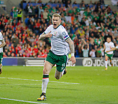 9th October 2017, Cardiff City Stadium, Cardiff, Wales; FIFA World Cup Qualification, Wales versus Republic of Ireland; James McClean celebrates scoring the opening goal for Republic of Ireland