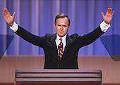United States Vice President George H.W. Bush acknowledges the cheers of the crowd from the podium as he delivers his speech accepting his party's nomination for President of the United States at the 1988 Republican Convention at the Super Dome in New Orleans, Louisiana on August 18, 1988.<br /> Credit: Arnie Sachs / CNP