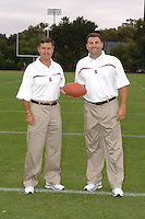 7 August 2006: Stanford Cardinal head coach Walt Harris and coordinator of football operations Matt Doyle during Stanford Football's Team Photo Day at Stanford Football's Practice Field in Stanford, CA.