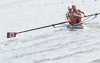 Poznan, POLAND,   CAN M2- Bow, Daniel CASACA and Max LANG, competing in the heats of the men's pair on the first day of the, 2009 FISA World Rowing Championships. held on the Malta Rowing lake, Sunday 23/08/2009 [Mandatory Credit. Peter Spurrier/Intersport Images]