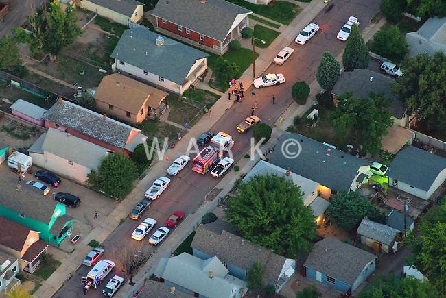 Emergency response.  Bessemer neighborhood, Pueblo, Colorado.  Aug 30, 2013