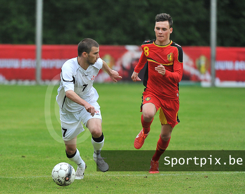 Georgia U19 - Belgium U19 : Guram Samushia (7) and Birger Verstraete (8)<br /> foto DAVID CATRY / Nikonpro.be