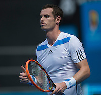 ANDY MURRAY (GBR)<br /> <br /> Tennis - Australian Open - Grand Slam -  Melbourne Park -  2014 -  Melbourne - Australia  - 14th January 2013. <br /> <br /> &copy; AMN IMAGES, 1A.12B Victoria Road, Bellevue Hill, NSW 2023, Australia<br /> Tel - +61 433 754 488<br /> <br /> mike@tennisphotonet.com<br /> www.amnimages.com<br /> <br /> International Tennis Photo Agency - AMN Images
