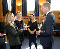 18 April 2017 - Prince William, Duke of Cambridge attends a reception where he meets TV presenter Fiona Phillips (L), runners who feature in the documentary and the production team involved in the filming ahead of the screening of the BBC documentary 'Mind over Marathon' at BBC Radio Theatre in London.  The screening also launches the BBC season on mental health. Photo Credit: ALPR/AdMedia