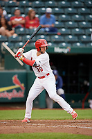 Springfield Cardinals second baseman Dickie Joe Thon (35) at bat during a game against the Corpus Christi Hooks on May 31, 2017 at Hammons Field in Springfield, Missouri.  Springfield defeated Corpus Christi 5-4.  (Mike Janes/Four Seam Images)