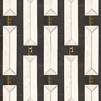 Lytton, a waterjet and hand-cut stone mosaic, shown in honed Orpheus Black, polished Afyon White, Thassos, Shell, and 24k Gold glass, is part of the Bright Young Things™ collection by New Ravenna.