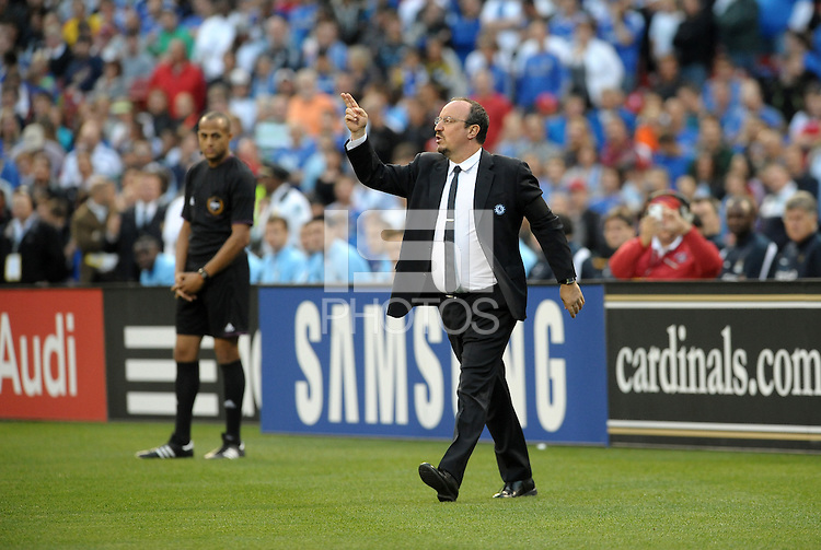 Chelsea head coach Rafa Benitez gives instructions from the sideline.Manchester City defeated Chelsea 4-3 in an international friendly at Busch Stadium, St Louis, Missouri.