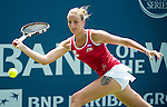 Karolina Pliskova (CZE) during her semifinal match against Varvara Lepchenko (USA) at the Bank of the West Classic in Stanford, CA on August 8, 2015. After defeating Lepchenko 62 75, with the win Pliskova moves into the top 10 next week and advances to Sunday's final.