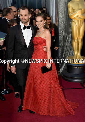 "OSCARS 2012 - NATALIE PORTMAN AND BENJAMIN MILLEPIED.84th Academy Awards arrivals, Kodak Theatre, Hollywood, Los Angeles_26/02/2012.Mandatory Photo Credit: ©Dias/Newspix International..**ALL FEES PAYABLE TO: ""NEWSPIX INTERNATIONAL""**..PHOTO CREDIT MANDATORY!!: NEWSPIX INTERNATIONAL(Failure to credit will incur a surcharge of 100% of reproduction fees)..IMMEDIATE CONFIRMATION OF USAGE REQUIRED:.Newspix International, 31 Chinnery Hill, Bishop's Stortford, ENGLAND CM23 3PS.Tel:+441279 324672  ; Fax: +441279656877.Mobile:  0777568 1153.e-mail: info@newspixinternational.co.uk"