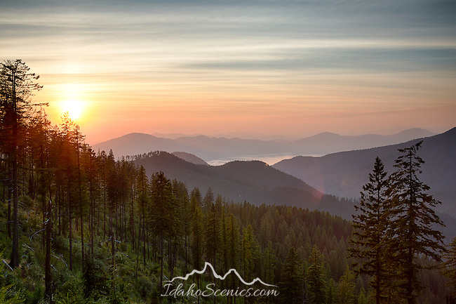 Idaho, North, Athol, A summer view over the south end of Lake Pend Orielle from high in the Coeur d'Alene mountains and the Kaniksu District of the Idaho Panhandle National Forest.