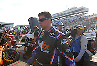 Mar 30, 2007; Martinsville, VA, USA; Nascar Nextel Cup Series driver Denny Hamlin (11) after qualifying on the pole for the Goody's Cool Orange 500 at Martinsville Speedway. Martinsville marks the second race for the new car of tomorrow. Mandatory Credit: Mark J. Rebilas.