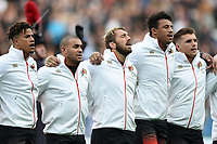 Chris Robshaw of England sings the national anthem. Old Mutual Wealth Series International match between England and Argentina on November 11, 2017 at Twickenham Stadium in London, England. Photo by: Patrick Khachfe / Onside Images