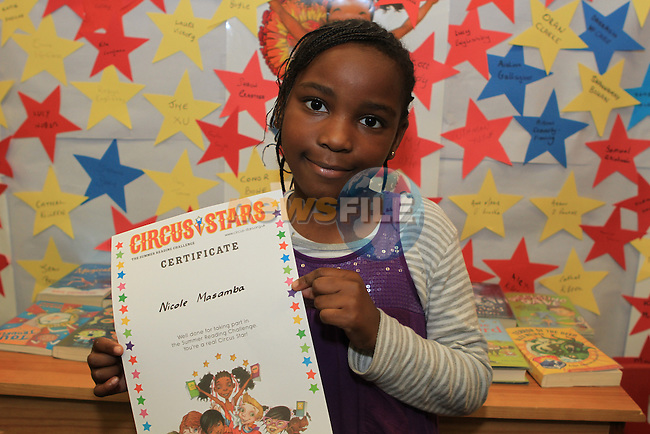 Nicole Masamba at the presentation of certificates for the Kids Summer Reading Programme at Drogheda Library...(Photo credit should read Jenny Matthews www.newsfile.ie)....This Picture has been sent you under the conditions enclosed by:.Newsfile Ltd..The Studio,.Millmount Abbey,.Drogheda,.Co Meath..Ireland..Tel: +353(0)41-9871240.Fax: +353(0)41-9871260.GSM: +353(0)86-2500958.email: pictures@newsfile.ie.www.newsfile.ie.