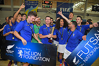 The AFF team celebrates winning the 2018 Futsal National League tournament final between Auckland FF and Southern Futsal at ASB Sports Centre in Wellington, New Zealand on Sunday, 9 December 2018. Photo: Dave Lintott / lintottphoto.co.nz