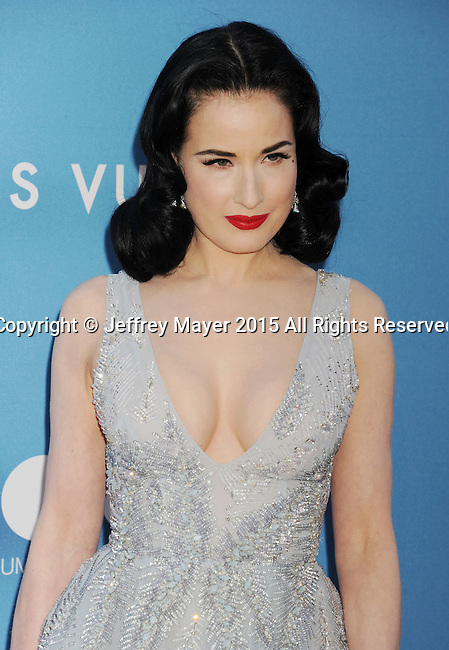 LOS ANGELES, CA - MAY 30:  Burlesque dancer/model Dita Von Teese arrives at the 2015 MOCA Gala presented by Louis Vuitton at The Geffen Contemporary at MOCA on May 30, 2015 in Los Angeles, California.