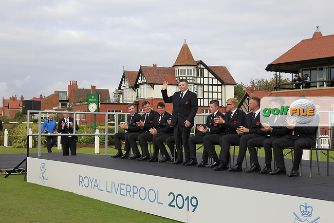 Caolan Rafferty (GB&I) being introduced during the Official Opening of the Walker Cup, Royal Liverpool Golf CLub, Hoylake, Cheshire, England. 06/09/2019.<br /> Picture Thos Caffrey / Golffile.ie<br /> <br /> All photo usage must carry mandatory copyright credit (© Golffile   Thos Caffrey)