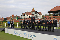 Caolan Rafferty (GB&I) being introduced during the Official Opening of the Walker Cup, Royal Liverpool Golf CLub, Hoylake, Cheshire, England. 06/09/2019.<br /> Picture Thos Caffrey / Golffile.ie<br /> <br /> All photo usage must carry mandatory copyright credit (© Golffile | Thos Caffrey)