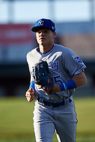 AZL Royals left fielder Warling Vicente (15) jogs off the field between innings of an Arizona League game against the AZL Cubs 1 on June 30, 2019 at Sloan Park in Mesa, Arizona. AZL Royals defeated the AZL Cubs 1 9-5. (Zachary Lucy/Four Seam Images)
