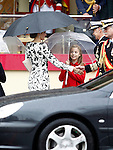 Queen Letizia of Spain (l) and Princess Sofia of Spain attend the National Day military parade. October 12 ,2016. (ALTERPHOTOS/Acero)