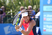 June 17th 2017, Nottingham, England;WTA Aegon Nottingham Open Tennis Tournament day 6;  Backhand from Johanna Konta of Great Britain in the semi final against Magdalena Rybarikova of The Slovak Republic
