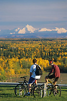 University of Alaska students enjoy skyline of mount Hayes, the Alaska mountain range, over Fairbanks, Alaska.