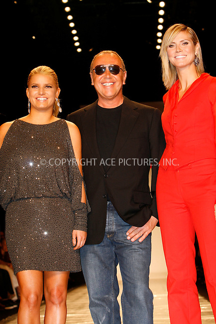 WWW.ACEPIXS.COM . . . . .  ....September 9 2010, New York City....Jessica Simpson, Michael Kors and Heidi Klum on the runway during Project Runway at Mercedes Benz Spring 2011 New York Fashion Week at the Lincoln Center on September 9 2010 in New York City....Please byline: NANCY RIVERA- ACEPIXS.COM.... *** ***..Ace Pictures, Inc:  ..Tel: 646 769 0430..e-mail: info@acepixs.com..web: http://www.acepixs.com
