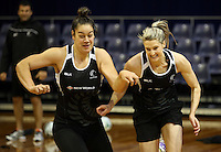 09.10.2016 Silver Ferns Maia Wilson and Jane Watson in action during training at the Silver Dome in Launceston in Australia. Mandatory Photo Credit ©Michael Bradley.