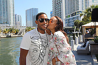 www.acepixs.com<br /> <br /> February 14 2017, Miami FL<br /> <br /> Actor and Hop Hop artist Ludacris and his wife Eudoxie Mbouguiengue enjoy Valentine's Day Kiss at the River Yacht Club on February 14, 2017 in Miami, Florida.<br /> <br /> By Line: Solar/ACE Pictures<br /> <br /> ACE Pictures Inc<br /> Tel: 6467670430<br /> Email: info@acepixs.com<br /> www.acepixs.com
