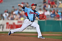 Tennessee Smokies starting pitcher Joel Pineiro #35 delivers a pitch during a game against the Birmingham Barons at Smokies Park on May 31, 2014 in Kodak, Tennessee. The Barons defeated the Smokies 2-1. (Tony Farlow/Four Seam Images)
