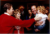 United States President Ronald Reagan and first lady Nancy Reagan meet Mary Bonner Baker, daughter of White House Chief of Staff James A. Baker, III at the White House in Washington, D.C. on Saturday, April 11, 1981<br /> Mandatory Credit: Bill Fitz-Patrick - White House via CNP