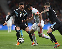 Argentina's player Marcos Rojo; Spanish's player Diego Costa<br /> Spain vs Argentina selections team pre Russian Soccer World Cup football match at Wanda Metropolitano stadium in Madrid on March 27, 2018.