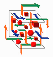 Abstract three dimensional puzzle of sphere and cubes with arrows pointing in different directions
