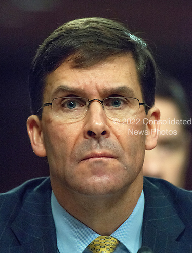 """Mark T. Esper, Secretary of The United States Army, appears before the US Senate Committee on Armed Services to give testimony """"on the posture of the Department of the Army in review of the Defense Authorization Request for Fiscal Year 2019 and the Future Years Defense Program"""" on Capitol Hill in Washington, DC on Thursday, April 12, 2018.<br /> Credit: Ron Sachs / CNP"""