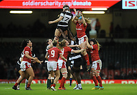 Gwen Crabb of Wales claims the lineout<br /> <br /> Photographer Ian Cook/CameraSport<br /> <br /> 2019 Autumn Internationals - Wales Women v Barbarians Women - Saturday 30th November 2019 - Principality Stadium - Cardifff<br /> <br /> World Copyright © 2019 CameraSport. All rights reserved. 43 Linden Ave. Countesthorpe. Leicester. England. LE8 5PG - Tel: +44 (0) 116 277 4147 - admin@camerasport.com - www.camerasport.com