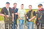 COMPETION: Member's of the Kilflynn Gun Club at the Knocknagoshel shooting grounds on Saturday l-r: Tom McKenna, Mike McKenna, Aaron Sheehan, Kevin McKenna and Pat McKenna.