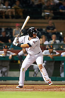 Scottsdale Scorpions catcher Jeremy Lucas (8) at bat during an Arizona Fall League game against the Salt River Rafters on October 14, 2015 at Scottsdale Stadium in Scottsdale, Arizona.  Scottsdale defeated Salt River 13-3.  (Mike Janes/Four Seam Images)