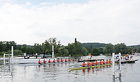 """Henley on Thames, United Kingdom, 4th July 2018, Wednesday, View,  Heat of the, """"Temple Challenge Cup"""" between Far, Cornell University, USA and Syracuse University, first day of the annual,  """"Henley Royal Regatta"""", Henley Reach, River Thames, Thames Valley, England,© Peter SPURRIERAlamy Live News,"""