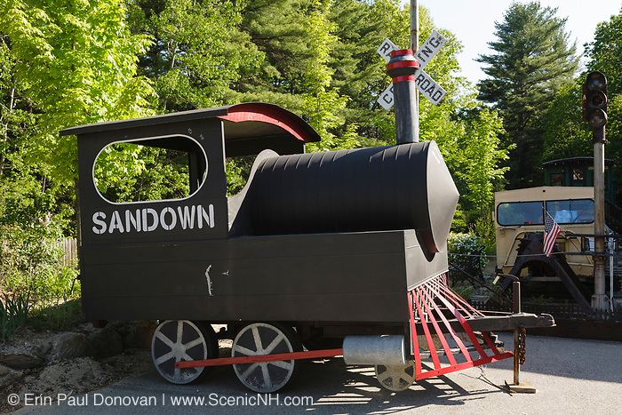 Mini parade train at the Sandown depot along the Worcester, Nashua & Portland Division of the Boston & Maine Railroad.