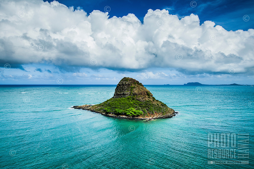 An aerial view of Chinaman's Hat (a.k.a. Mokoli'i) near Kualoa Beach Park, facing Kane'ohe on Windward O'ahu.