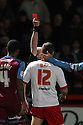 Ben May of Stevenage is shown the red card by referee David Phillips. - Stevenage v Tranmere Rovers - npower League 1 - Lamex Stadium, Stevenage - 17th December 2011  .© Kevin Coleman 2011 ... ....  ...  . .
