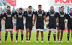 Heiden Bedwell-Curtis (L), Kurt Baker, Rieko Ioane, Akira Ioane, Joe Edwards, Sean Wainui, Codey Rei. Maori All Blacks vs. Fiji. Suva. MAB's won 27-26. July 11, 2015. Photo: Marc Weakley