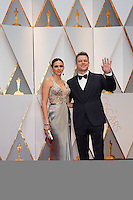 www.acepixs.com<br /> <br /> February 26 2017, Hollywood CA<br /> <br /> Actor/producer Matt Damon (R) and Luciana Barroso arriving at the 89th Annual Academy Awards at Hollywood &amp; Highland Center on February 26, 2017 in Hollywood, California.<br /> <br /> By Line: Z17/ACE Pictures<br /> <br /> <br /> ACE Pictures Inc<br /> Tel: 6467670430<br /> Email: info@acepixs.com<br /> www.acepixs.com