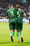 11.02.2018, Weserstadion, Bremen, GER, 1.FBL, SV Werder Bremen vs Vfl Wolfsburg<br /> <br /> im Bild<br /> Ludwig Augustinsson (Werder Bremen #5) bejubelt seinen Treffer zum 1:0, mit TeamkollegenAron J&oacute;hannsson / Johannsson (Werder Bremen #9), <br /> <br /> Foto &copy; nordphoto / Ewert