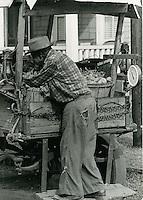 1966 October 17..Historical...Vegetable Cart on Cedar Street..Sam McKay.NEG# SLM66-8-3.NRHA# 4190..