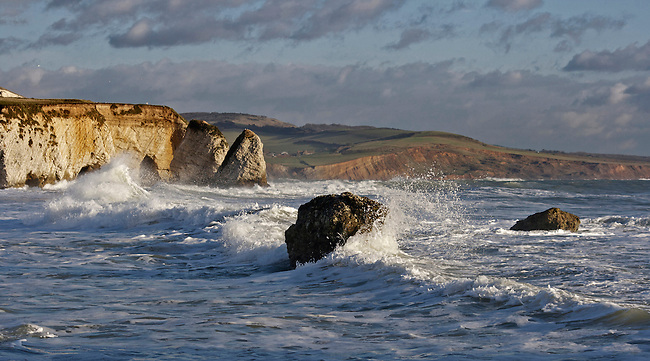 The last of the winter swells arrive on a beautiful March day at Freshwater Bay