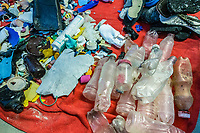 pollution, asoted marine debris or marine litter, plastic wastes collected from the beach, catalogued for study, Clipperton Island, Overseas France, Pacific Ocean