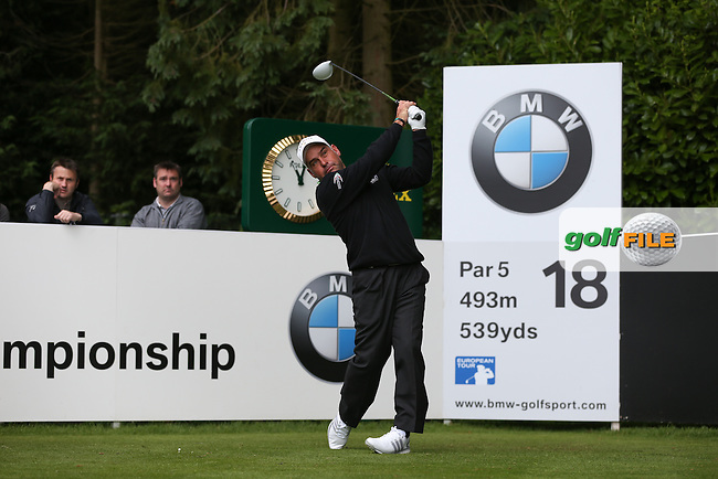 Hennie OTTO (RSA) drives the 18th during the Pro-Am ahead of the 2015 BMW PGA Championship over the West Course at Wentworth, Virginia Water, London. Picture David Lloyd, www.golffile.ie: 20/05/2015