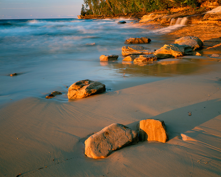 Sunset light on Miners Beach on Lake Superior; Pictured Rocks National Lakeshore, MI