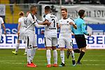 16.03.2019, BWT-Stadion am Hardtwald, Sandhausen, GER, 2. FBL, SV Sandhausen vs FC St. Pauli, <br /> <br /> DFL REGULATIONS PROHIBIT ANY USE OF PHOTOGRAPHS AS IMAGE SEQUENCES AND/OR QUASI-VIDEO.<br /> <br /> im Bild: Freude ueber den Sieg bei Erik Zenga (#17, SV Sandhausen), Andrew Wooten (7, SV Sandhausen) und Felix M&uuml;ller (SV Sandhausen #25)<br /> <br /> Foto &copy; nordphoto / Fabisch
